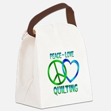 Peace Love Quilting Canvas Lunch Bag