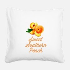 Sweet Southern Peach Square Canvas Pillow