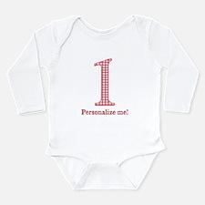 Gingham 1st Birthday Long Sleeve Infant Bodysuit