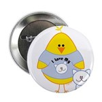 Cat Loving Chick Button