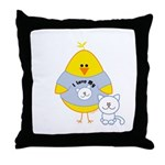 Cat Loving Chick Throw Pillow
