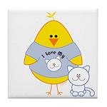 Cat Loving Chick Tile Coaster