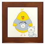 Cat Loving Chick Framed Tile