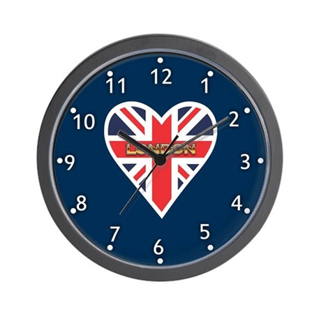 Union Jack Heart Wall Clock