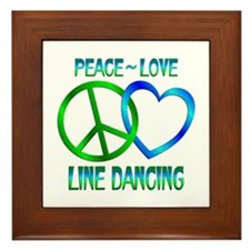 Peace Love Line Dancing Framed Tile