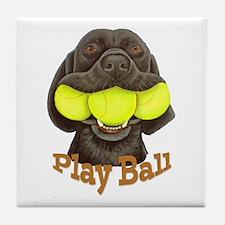 Play Ball, Labrador with Tennis Balls Tile Coaster