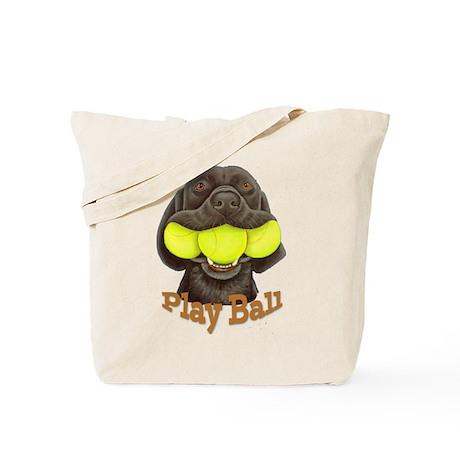 Play Ball, Labrador with Tennis Balls Tote Bag