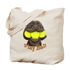 Play Ball, Labrador with Tennis Balls Tote Bag