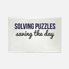 Solving Puzzles, Saving the Day Rectangle Magnet
