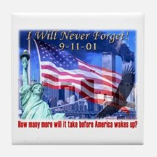 9-11 Tribute & Warning Tile Coaster