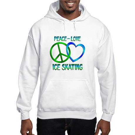 Peace Love Ice Skating Hooded Sweatshirt