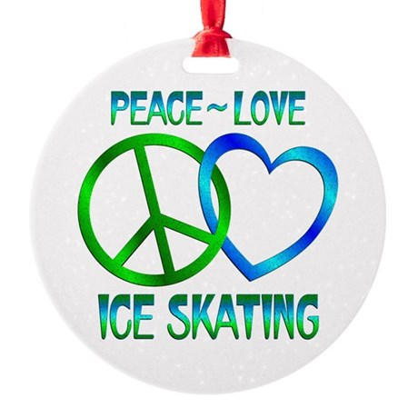 Peace Love Ice Skating Round Ornament