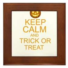 keep calm and trick or treat Halloween Framed Tile