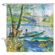 Van Gogh Fishermen and Boats Shower Curtain