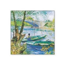 "Van Gogh Fishermen and Boats Square Sticker 3"" x 3"