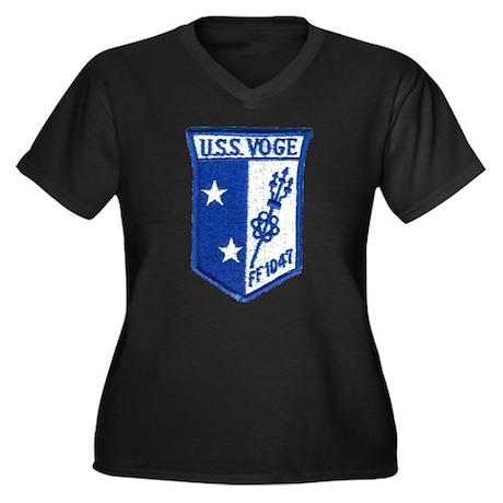 USS VOGE Women's Plus Size V-Neck Dark T-Shirt