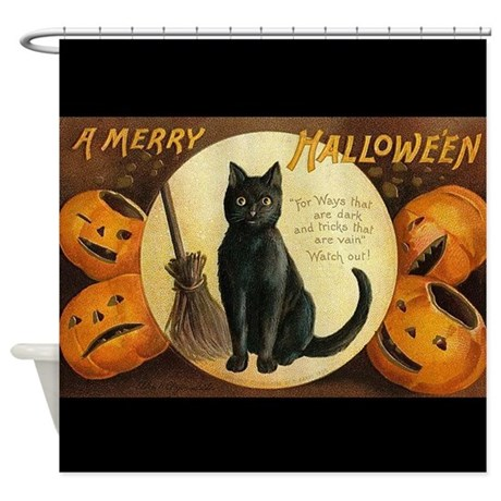 Vintage Merry Halloween Shower Curtain