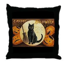 Vintage Merry Halloween Throw Pillow