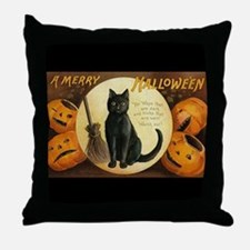 Vintage Merry Halloween Throw Pillow