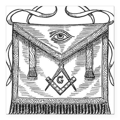 "MasonicApron.gif Square Car Magnet 3"" x 3"""