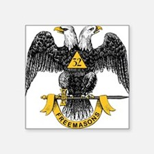 "32_eagle_hi_res_Freemasons.gif Square Sticker 3"" x"