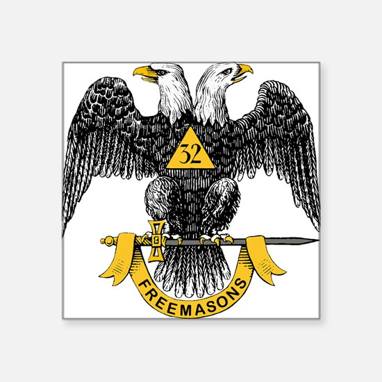 "32_eagle_hi_res_Freemasons.gif Square Sticker 3"" x"