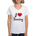 I Love Fencing Women's V-Neck T-Shirt