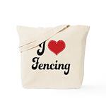 I Love Fencing Tote Bag