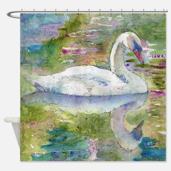 Swan Song Bathroom Shower Curtain