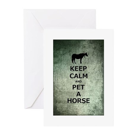Keep Calm Pet A Horse Greeting Cards (Pk of 10)