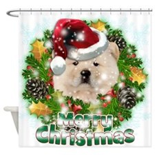 Merry Christmas Chow Chow.png Shower Curtain