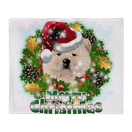 Merry Christmas Chow Chow.png Throw Blanket