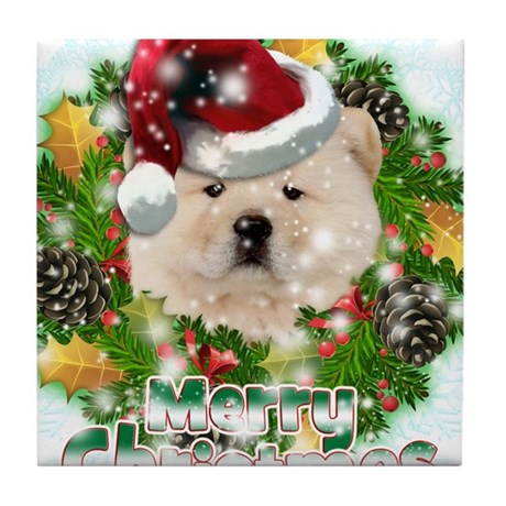 Merry Christmas Chow Chow.png Tile Coaster