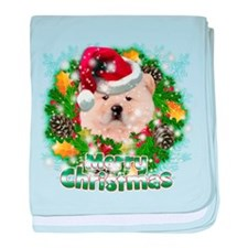 Merry Christmas Chow Chow.png baby blanket