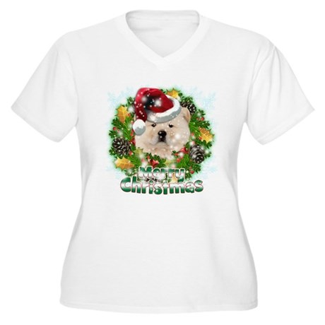Merry Christmas Chow Chow.png Women's Plus Size V-