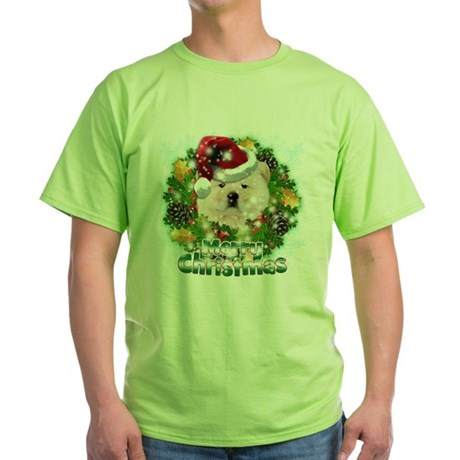 Merry Christmas Chow Chow.png Green T-Shirt