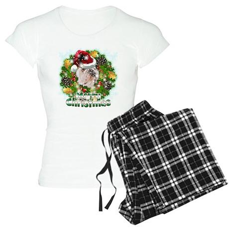 Merry Christmas Bulldog.png Women's Light Pajamas