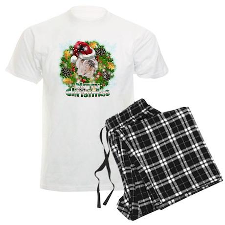 Merry Christmas Bulldog.png Men's Light Pajamas