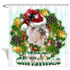 Merry Christmas Bulldog.png Shower Curtain