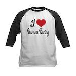 I Love Harness Racing Kids Baseball Jersey