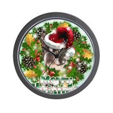 Merry Christmas Boston Terrier.png Wall Clock