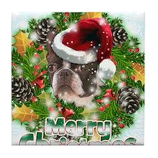 Merry Christmas Boston Terrier.png Tile Coaster