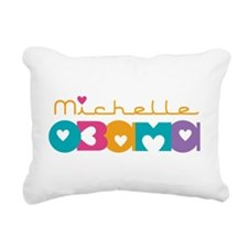 Michelle Obama Hearts Rectangular Canvas Pillow
