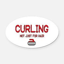 Curling Oval Car Magnet