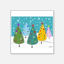 """Whimsical Christmas Trees Square Sticker 3"""" x 3"""""""