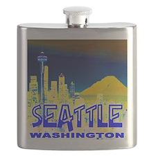 Seattle Washington Golden Skyline Flask