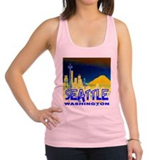 Seattle Washington Golden Skyline Racerback Tank T
