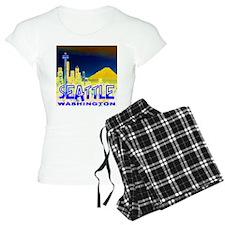 Seattle Washington Golden Skyline Pajamas