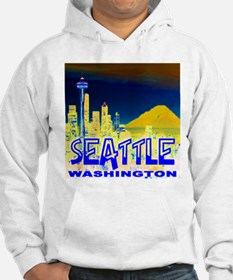 Seattle Washington Golden Skyline Hoodie