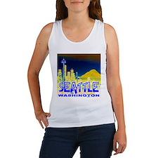 Seattle Washington Golden Skyline Women's Tank Top